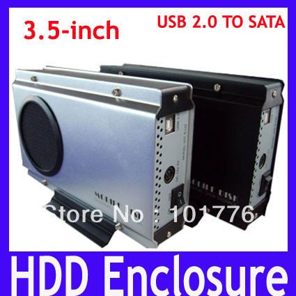 EMS Free shipping HDD Enclosure,3.5inch standard USB2.0 SATA Mobile disk,Aluminum alloy Hard Drive Case,2pcs/lot