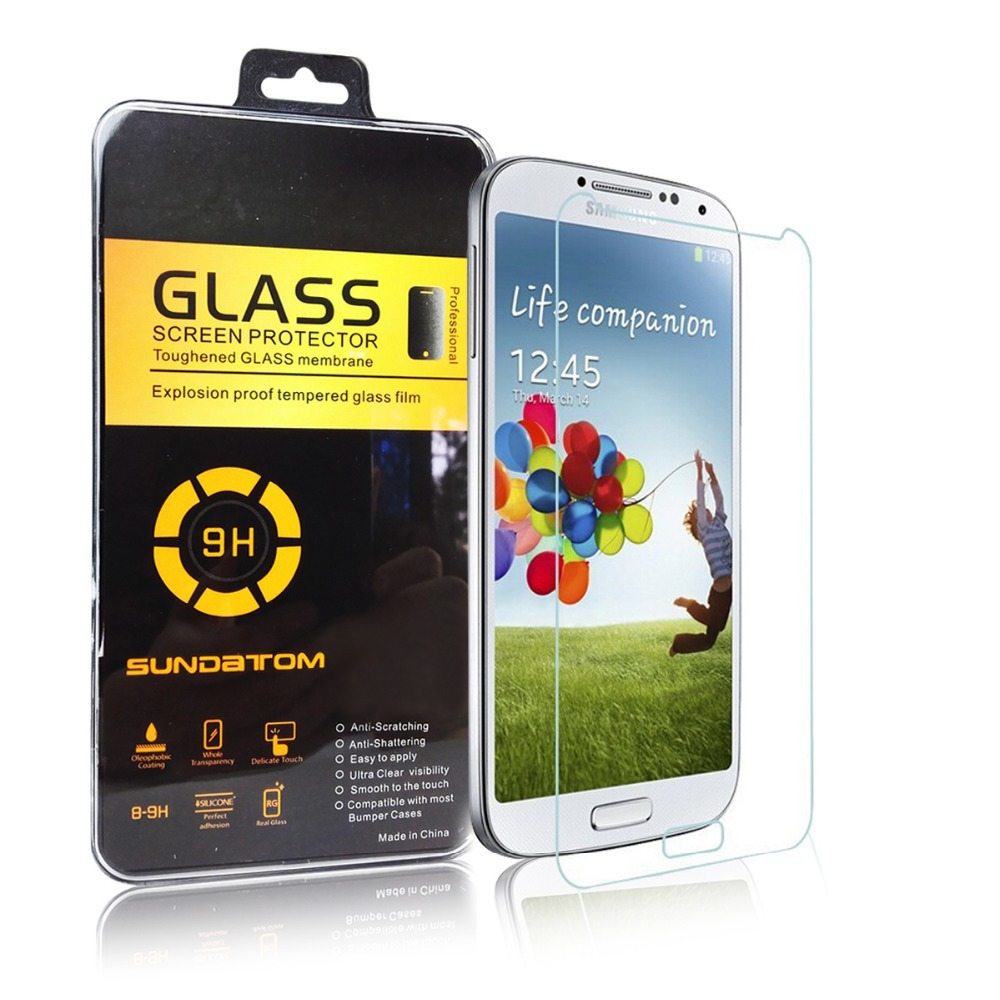Sundatom 2.5D Ultra-Thin high quality screen protector Tempered Glass for Samsung Galaxy S4 I9500 with hard plastic retail box(China (Mainland))