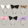 Fluffy Cosplay Halloween Party Cat Faux Fox Fur Ears Costume Hairpin Hairband Black White Purple Leopard