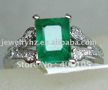 SOLID 14K WHITE GOLD NATURAL EMERALD DIAMOND JEWELRY