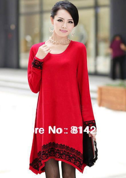 Free shipping   New national wind lady's medium style woolen sweater