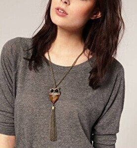 Cute tassel crystal owl pendant long necklaces/kpop retro vintage jewelry women accessories necklace/jewelery/jewerly/jewellery(China (Mainland))