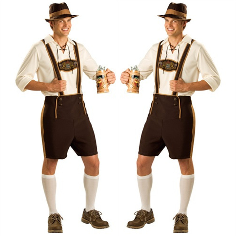 Oktoberfest Costume Lederhosen Bavarian Octoberfest German Festival Beer Halloween Men Costumes Plus Size S,M,L,XL,2XL - Fashion Worldwide Clothing store
