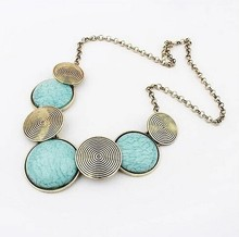 YANA Jewelry 3 Colors Gems Vintage Statement necklace Metal Round necklaces & pendants Woman 2015 New H98(China (Mainland))