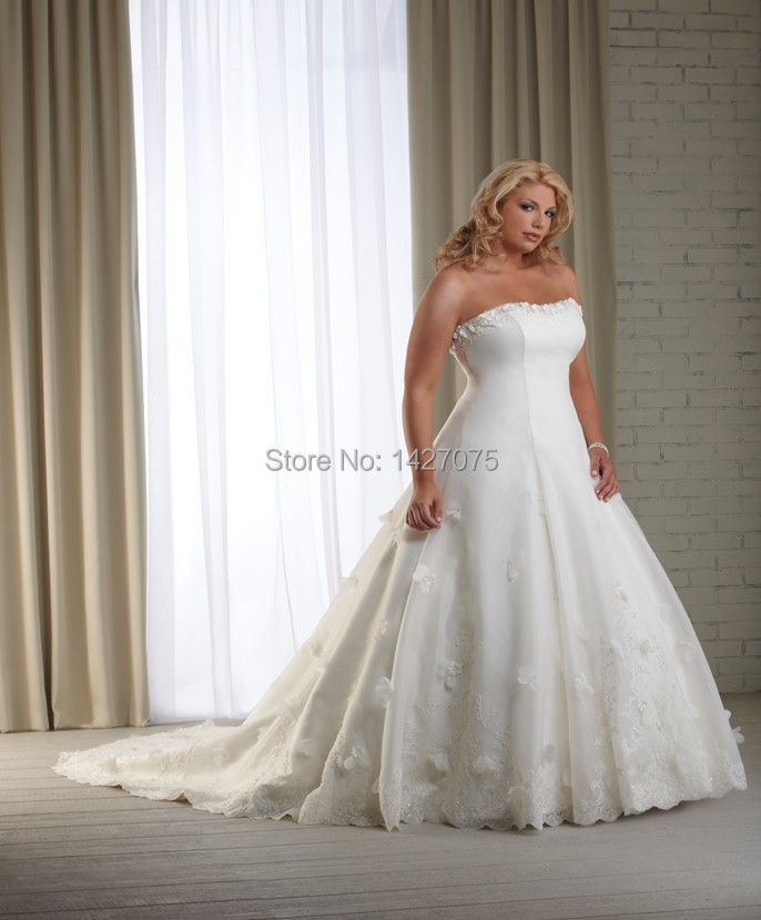 Organza flowers dropped wedding dress plus size bridal for Size 30 wedding dresses