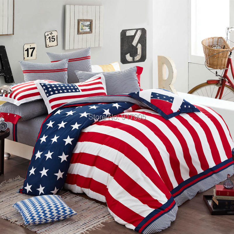 New 2014 home textile american flag bedding set modern designer bedding sets cool bedding - Look contemporary luxury bedding ...