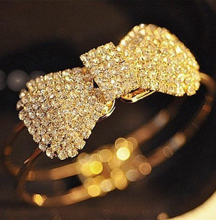 0983 nn bling claw drill full rhinestone bow brief spring bangles accessories bracelet