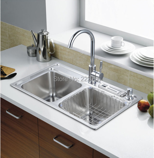 kitchen sink stainless steel kitchen sink size 7040-in Kitchen Sinks ...