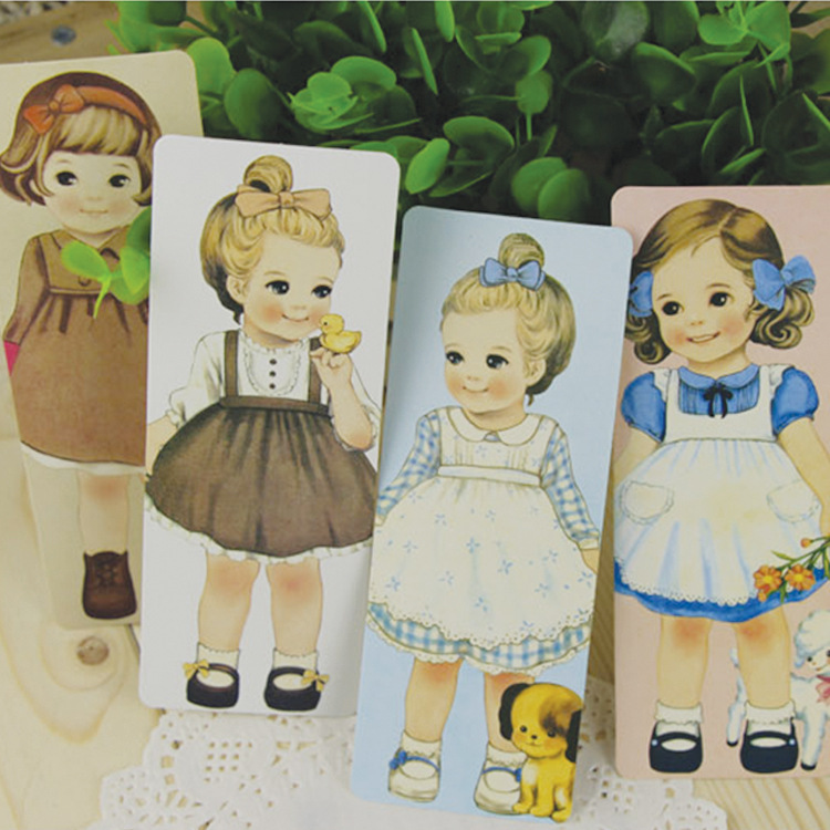 Free ship!1lot=10set(300pc)!creative cute doll bookmark/ boxed paper bookmarks / Stationery goods/ 30 into(China (Mainland))