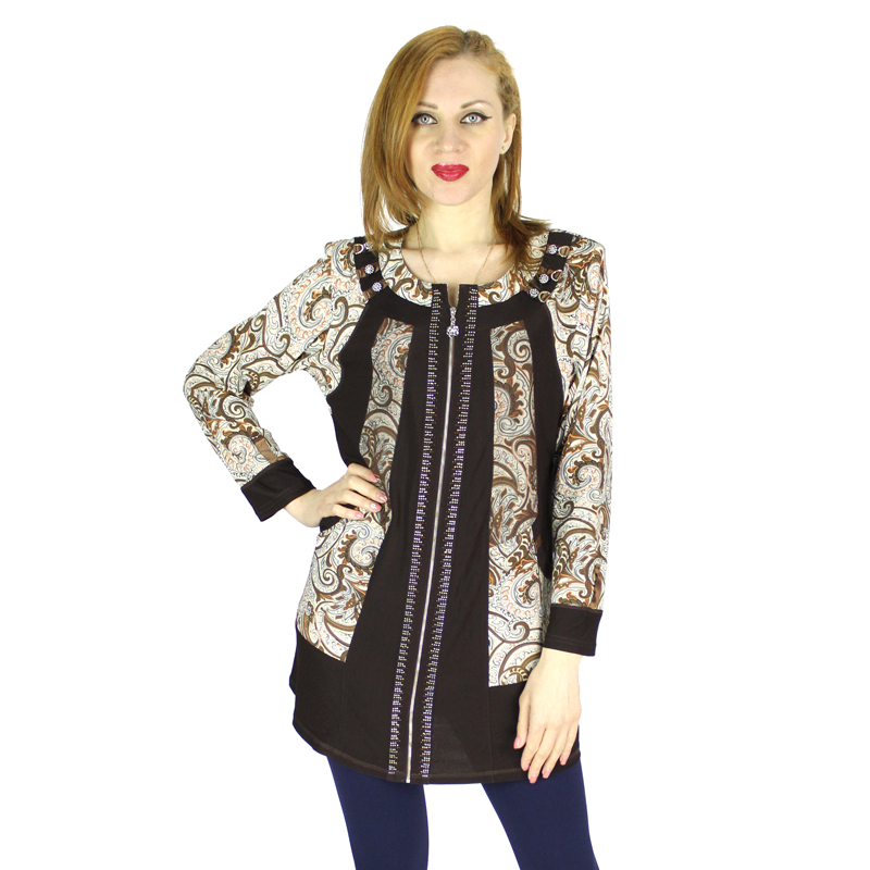2015 new arrival women shirt rhinestone retro print zipper for Retro long sleeve t shirts