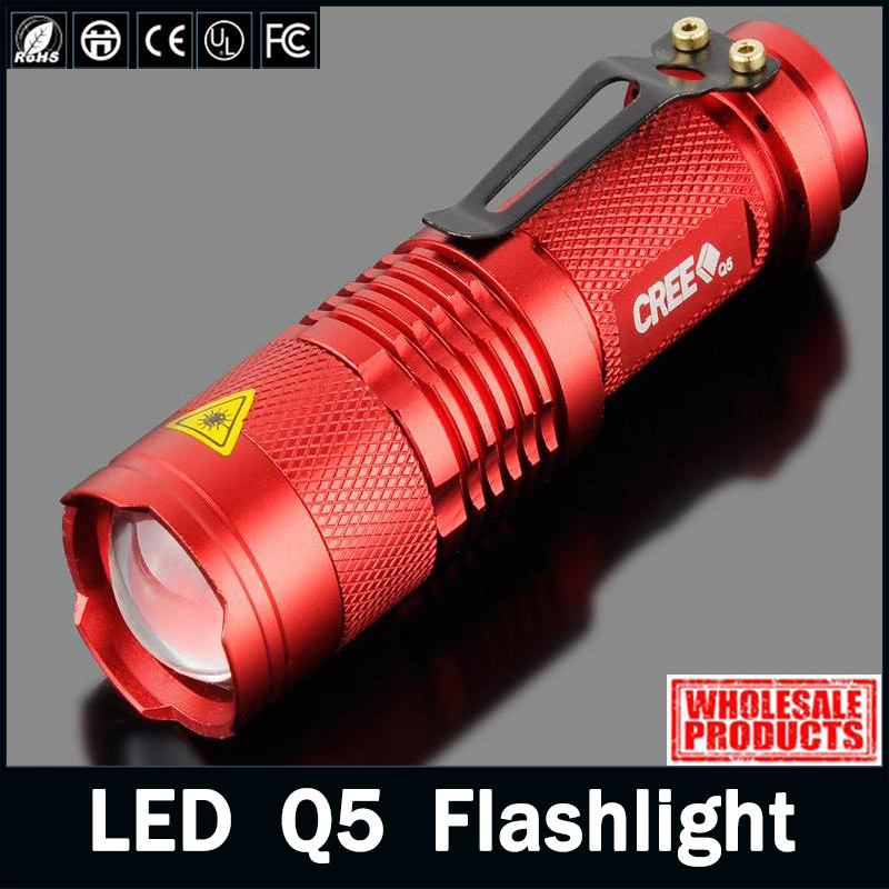 zk95 High Quality CREE Q5 LED Mini LED Torch 2000LM Red Flashlight Adjustable Focus 3 Modes Zoom Flash Light Lamp Free Shipping(China (Mainland))