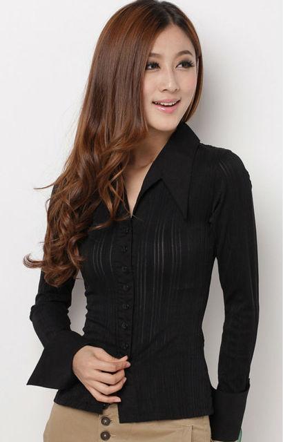 freeshipping black white women female ladies' slimming fit elegant long sleeve OL shirt blouse S M L XL cloth top wear WM3105