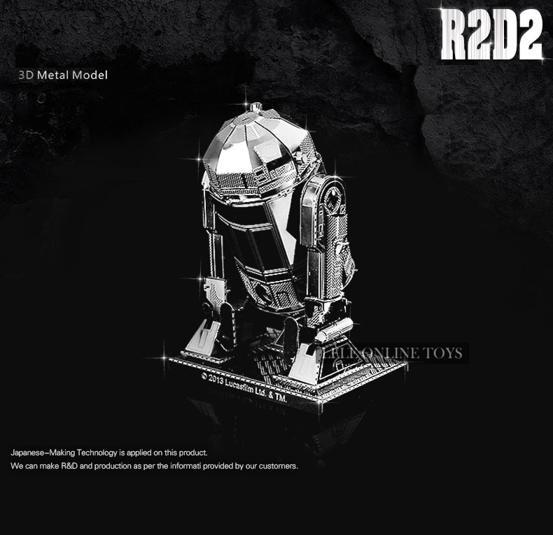 3D metal model R2-D2 Robot Star Wars 3D puzzle Wholesale price Stainless steel Etching Children's gifts Make by hand(China (Mainland))