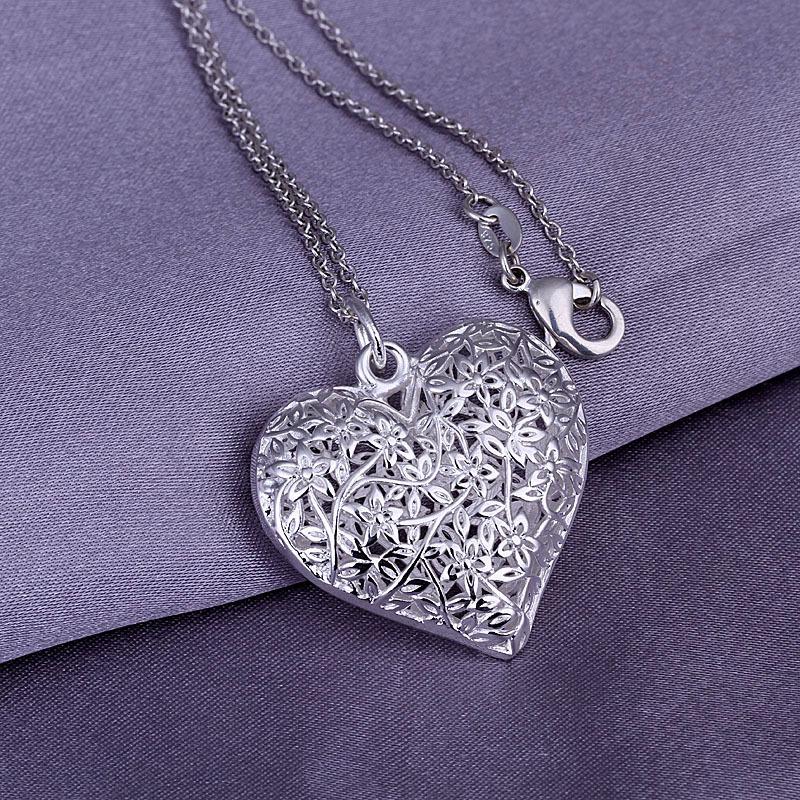women's/men's fashion jewelry chains necklace 925 silver pendant heart flower SP218 - Online Store 923577 store