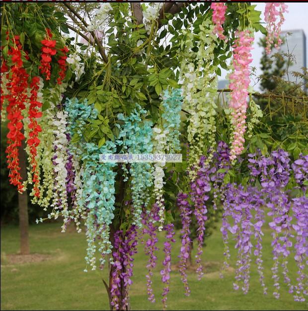 12 pcs 110cm Silk Wisteria Garland Artificial Wisteria Flower Garlands voilet home and wedding decoration flower artificial(China (Mainland))