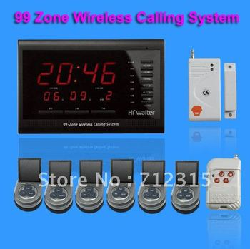 99 Zones LED Display Wireless Waiter Service Call Calling System 6pcs table button  TSB-D02