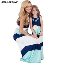 2016 Summer Maxi Dress Girl Striped Matching Mother And Daughter Dresses Women Clothes Sleeveless Patchwork Family Look Clothing