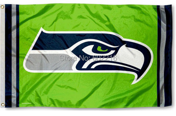 Free Shipping Seattle Seahawks Action Green Team Logo Flag Football Flag 3ft x 5ft Polyester NFL Banner Flying Flag(China (Mainland))