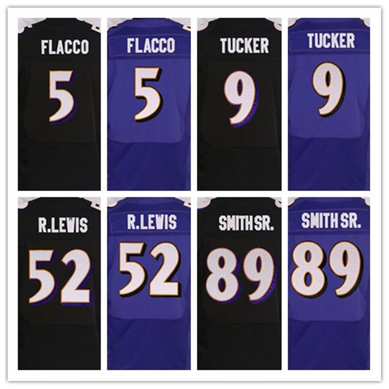 Best quality jersey,Men's 5 Joe Flacco 9 Justin Tucker 57 C J Mosley 58 Elvis Dumervil 89 Smith Sr elite jerseys,Purple,Black(China (Mainland))
