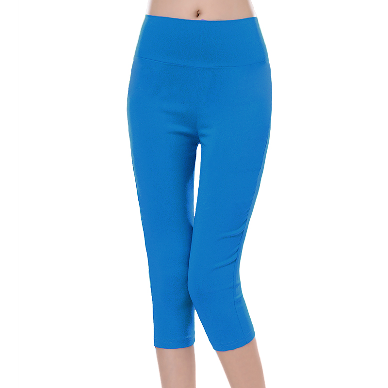 Glamourgirl summer candy color capris legging knee length trousers female thin plus size high waist - Happiness-shop store