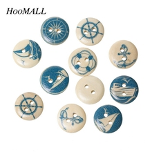 Buy Hoomall New 50PCs Random Mixed Wood Sewing Buttons Yachting Collections Scrapbooking 15mm for $1.10 in AliExpress store