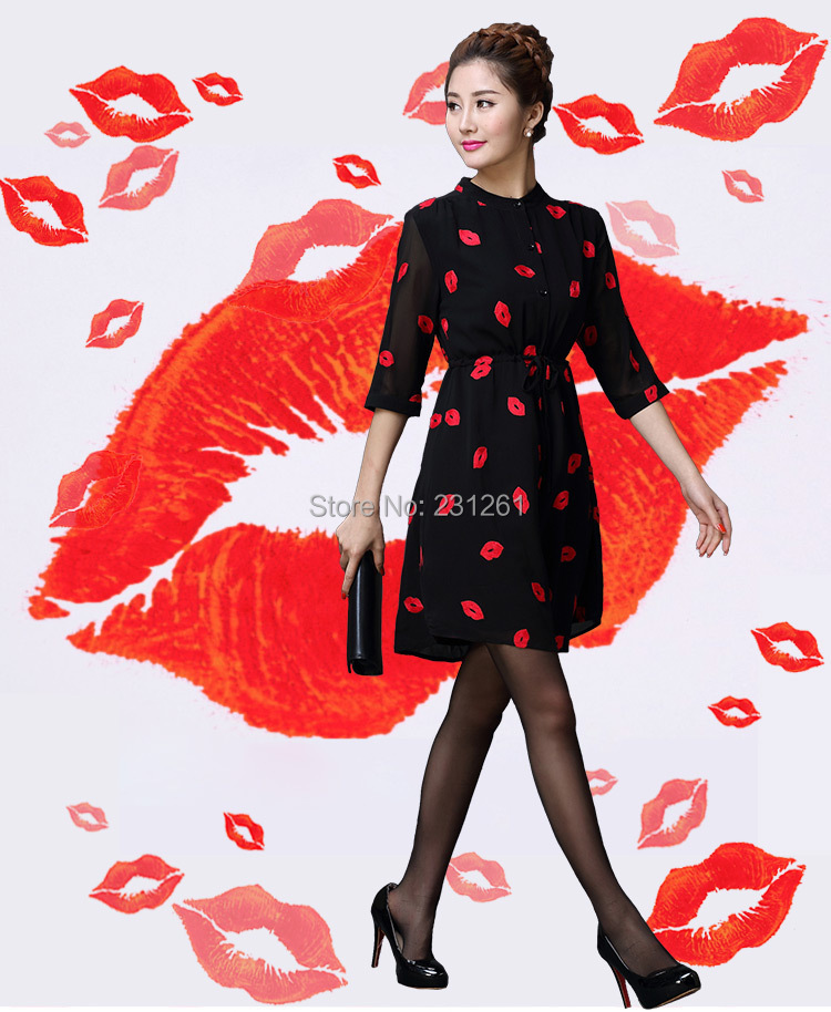 Spring Summer Woman's Dress S - XL Ladies Half Sleeves Slim Fit Red Lips Black Chiffon WD153231 Professional Costumes Co.,Ltd store