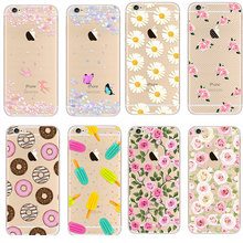 Newest Fashion Colorful Phone Cases soft TPU for Apple iPhone 5s 6 6S case 6S Plus case Waterproof Transparent Flower Pattern(China (Mainland))