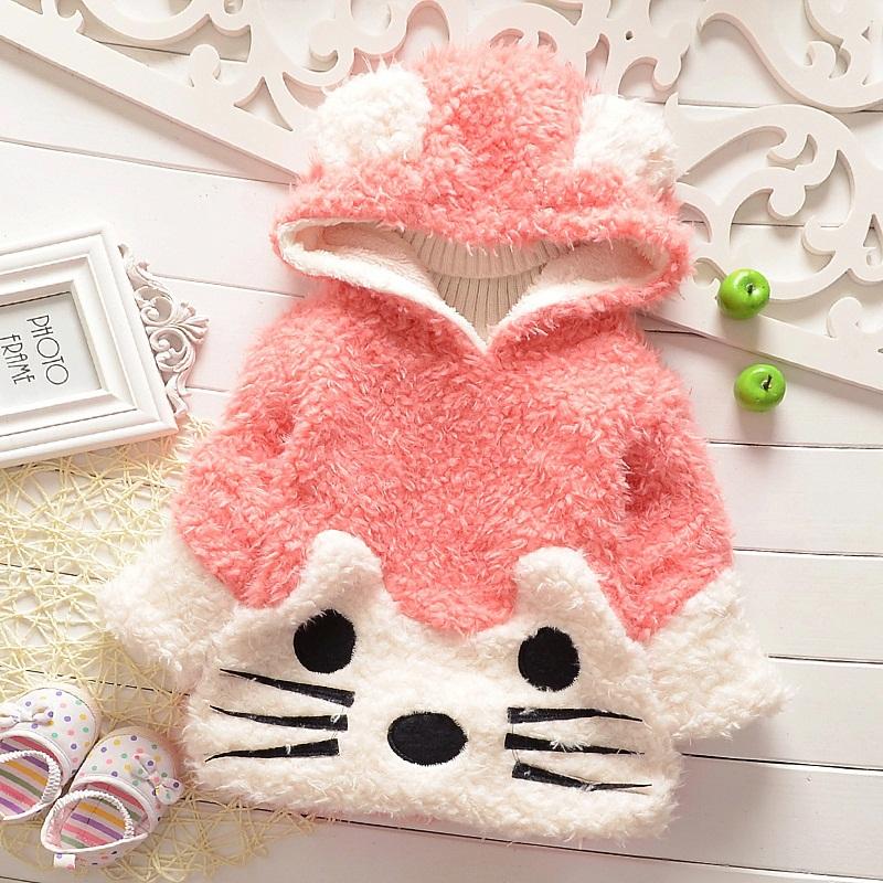 Qd04 child outerwear 2014 winter female child baby plush pullover fashion plus velvet thick sweatshirt Pink Black khaki 1-4T(China (Mainland))