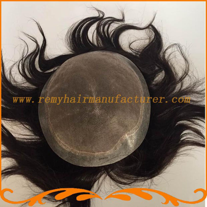 Mens hair pieces base mono lace and around pu hair wigs men's wig toupee lace men Indian remy hair free shipping(China (Mainland))
