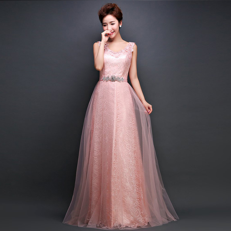 Robe de soiree pink lace long evening dresses 2015 new for Long straight wedding dresses