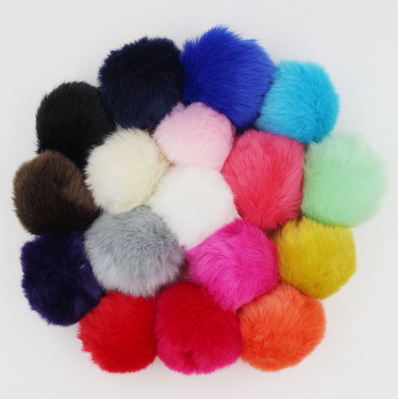 1PC New Fashion Colorful Faux Rabbit Fluffy Fur Balls Pom poms Keychains Mobile Chain Straps(China (Mainland))