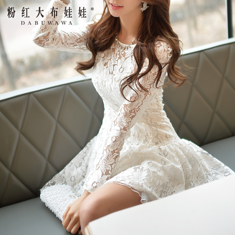 Spring 2015 Dress Pink Doll New Womens lace elegant fairy long sleeved dressОдежда и ак�е��уары<br><br><br>Aliexpress