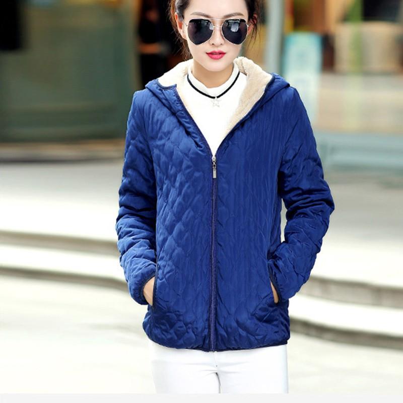 Women Fashion Winter Warm Hooded Coat Long Fleece Thin Slim Basic Outerwear Female Short Jacket