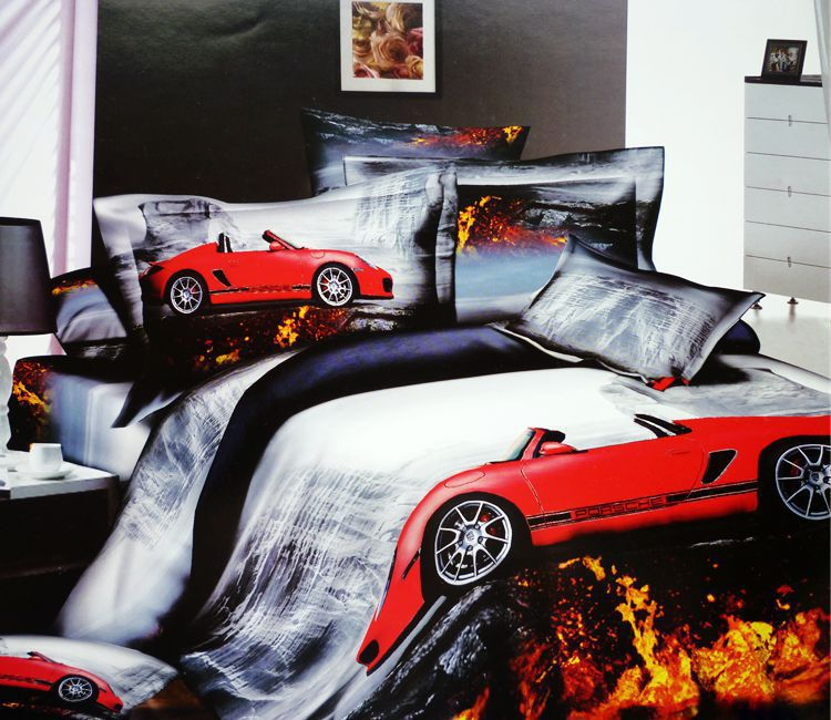 3d Race Cars Car Cotton Bedding Set Queen Size Bedspread