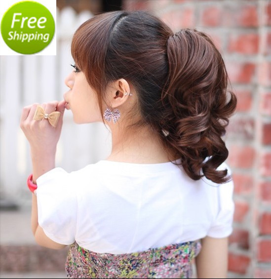 Wholesale Free Shipping Woman Short Wavy Curly Synthetic Hair Claw Ponytail Clip in Hair Extensions Pony Tail 3 Colors(China (Mainland))