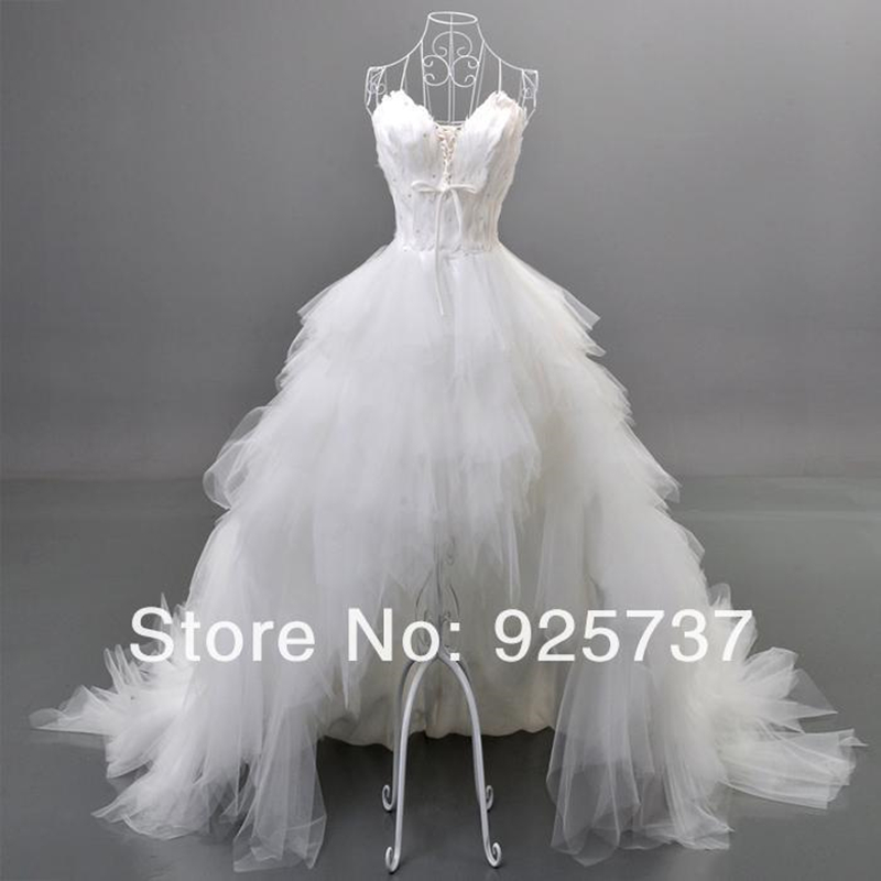 Free shipping Front Short and Back long Wedding Dress/ high low Feather Wedding dress bridal Gown real samples photo(China (Mainland))