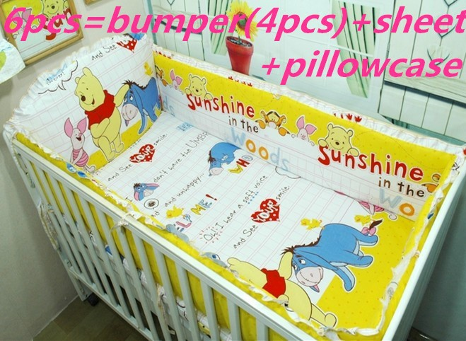 Promotion! 6PCS Baby bedding kit bed around baby set 100% cotton bedding kit baby bedding package (bumpers+sheet+pillow cover)<br><br>Aliexpress