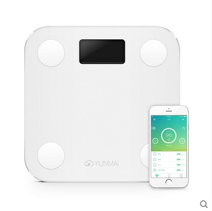 White Mini Smart YUNMAI Scales Household Premium Support Bluetooth APP Fat Percentage Digital Body Weighing Scale - Xun Mai Xi Store store