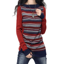 zocept 2016 Fashion Autumn Winter Cashmere Blend Sweater Women O-Neck Long-Sleeved Retro Striped Knitted Pullover Female Clothes(China (Mainland))