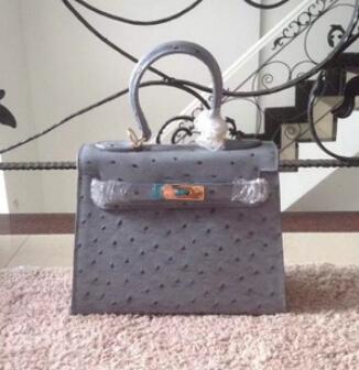 H Brands High Quality Women Handbag Genuine Leather Lady Bag Famous Purses Designer Ostrich Handbags Fashion Real Female Bags(China (Mainland))