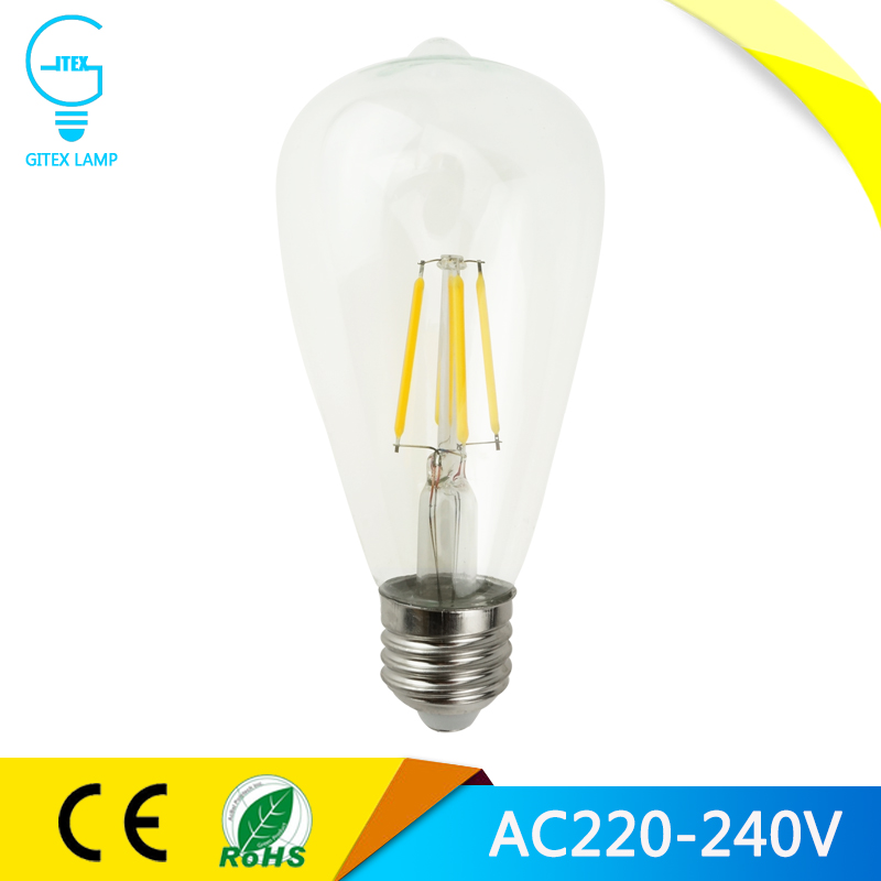 LED Lamp E27 ST64 E27 4W 8W 12W 16W dimmable Bombillas 220V LED Filament Bulb Edison Chandelier Lights Home Lighting 360 Degrees(China (Mainland))