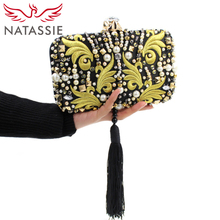 NATASSIE Women Clutch Bag Ladies Tassel Evening Clutches Pruses High Quality Clutches With Chain