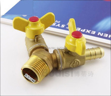 """1PCS 1/2"""" BSPP Female 10 mm Barbed Brass 3 Ways Gas Fitting Connector Valve(China (Mainland))"""