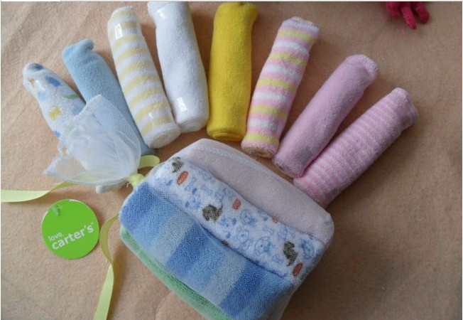 8pcs lot single small square soft cute baby towel handkerchief for infant Kid infant boys girls