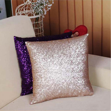Hot Sale Fashion 2016 Luxurious Sequin Pillow Cover Zipper Pillow Case Home Throw Pillowcases 7Colors AY673634(China (Mainland))