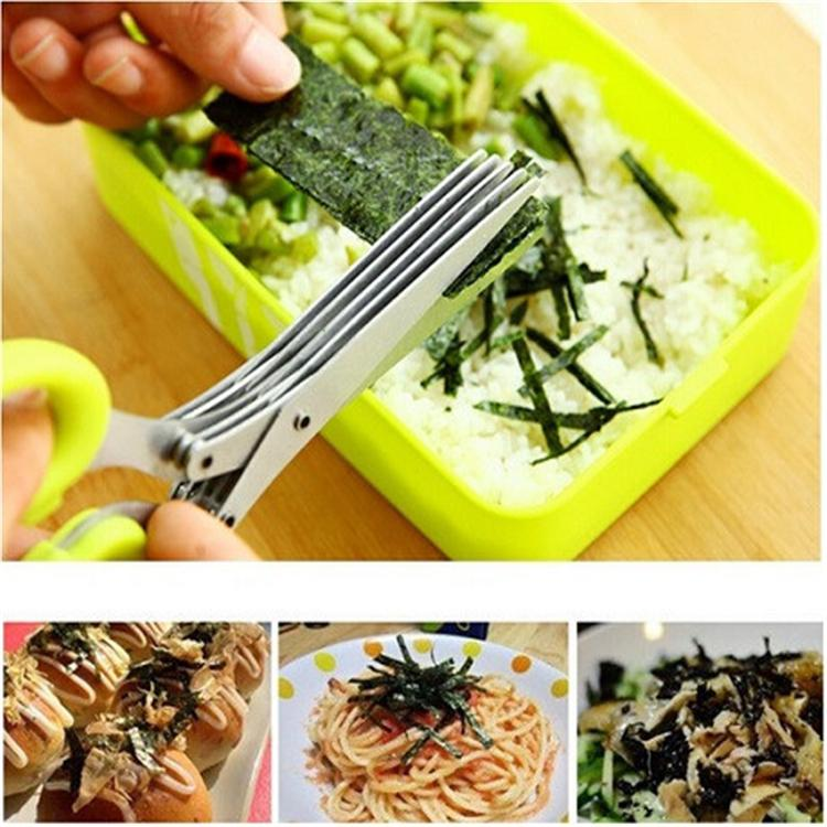 Multi-functional Stainless Steel Kitchen Knives 5 Layers Scissors Sushi Shredded Scallion Cut Herb Spices Scissors Cooking Tools(China (Mainland))