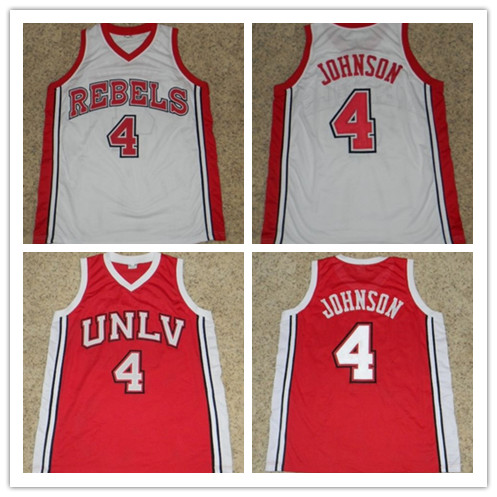 #4 LARRY JOHNSON UNLV RUNNIN REBELS BASKETBALL JERSEY Red White Embroidery Stitched Custom Any Name And Number(China (Mainland))