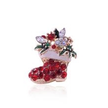 Zapato En Forma De Bota de la nieve Mujer Rhinestone Cristalino Broches de Navidad de Santa Diseño de la Bota de Moda Ropa Accesorios(China (Mainland))