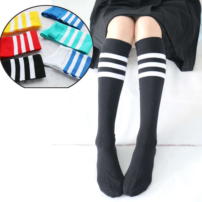 1Pair Knee-High Japanese Style Autumn/ Winter Women's Long Stockings Student Uniforms Sports Cotton 100% Thign High stocking(China (Mainland))