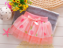 Retail new summer baby tutu skirt lace flowers loose length 24-30 baby girl skirts for baby-clothes k1517(China (Mainland))